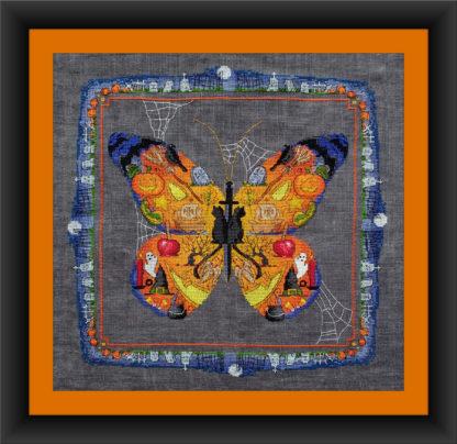 BOO Butterfly Halloween cross stitch pattern