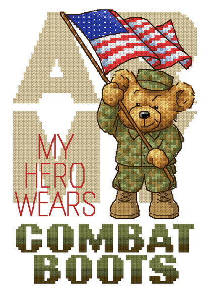Military Cross Stitch Pattern - Boots In The House - Army - My Hero Wears Combat Boots