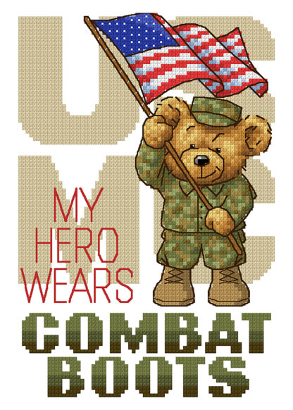 Military Cross Stitch Pattern - Boots In The House - USMC