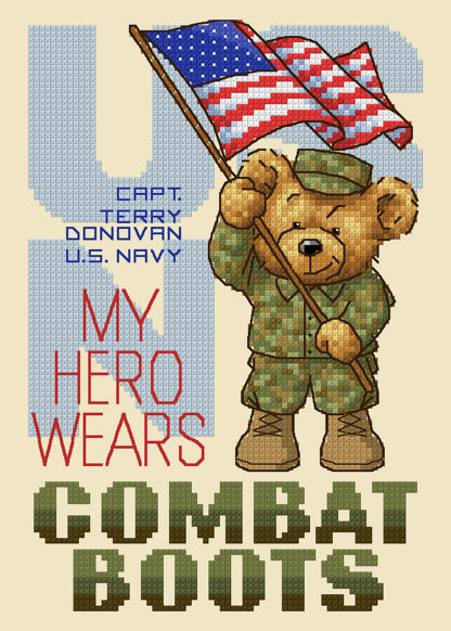 Military Cross Stitch Pattern -My Heroes Wear Combat Boots