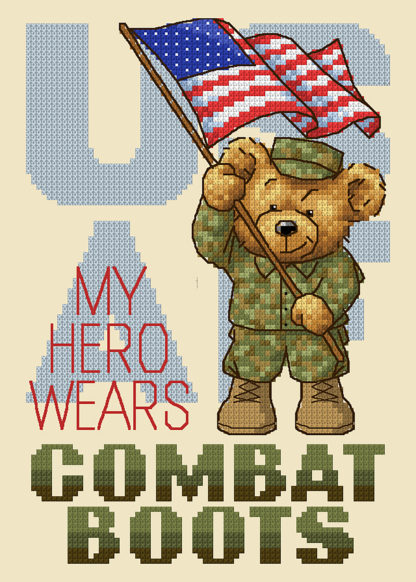 Military Cross Stitch Pattern -Boots In The House - Air Force - My Hero Wears Combat Boots