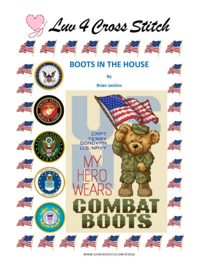 Military Cross Stitch Pattern My Hero Wears Combat Boots