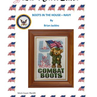 Boots In The House - Navy cross stitch
