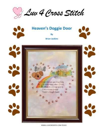 Heaven's Doggie Door - rainbow bridge cross stitch