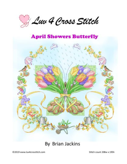 cross stitch pattern of things associated with spring in the shape of a butterfly with border containing other spring items