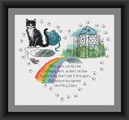 Rainbow Bridge cross stitch Heaven's Kitty Door