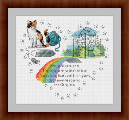 Heaven's Kitty Door - Calico Cat - Rainbow bridge cross stitch pattern
