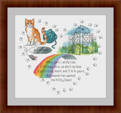 Heaven's Kitty Door -Ginger & White Cat - Rainbow bridge cross stitch pattern