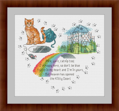 Heaven's Kitty Door - Orange Tabby Cat - Rainbow bridge cross stitch pattern
