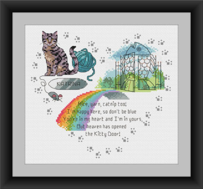 Heaven's Kitty Door -Tabby Cat - Rainbow bridge cross stitch pattern