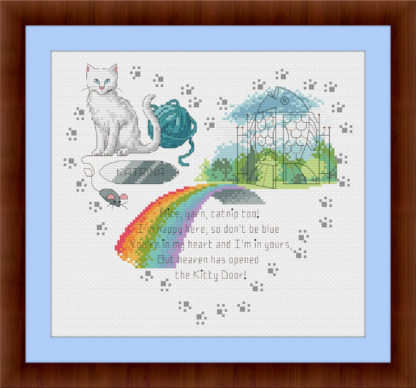 Heaven's Kitty Door - White cat memorial cross stitch