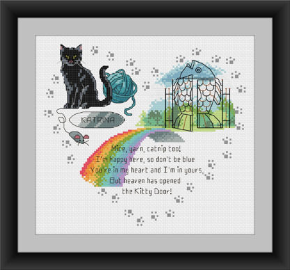 Heaven's Kitty Door - rainbow bridge cross stitch pattern