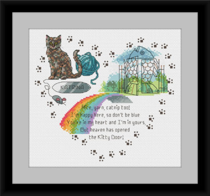Heaven's Kitty Door rainbow bridge cross stitch pattern - Muted Tortoise shell cat