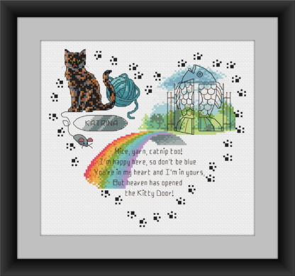 Heaven's Kitty Door - Tortoise Shell Cat cross stitch pattern