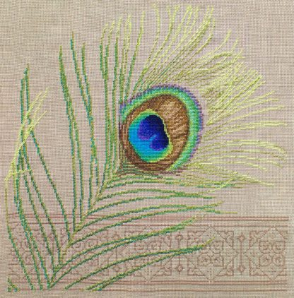 cross stitch of a peacock feather